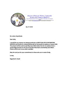 Thank you letter to WRITE WAI